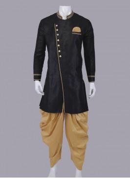 Black & Golden Indo-Western For Men