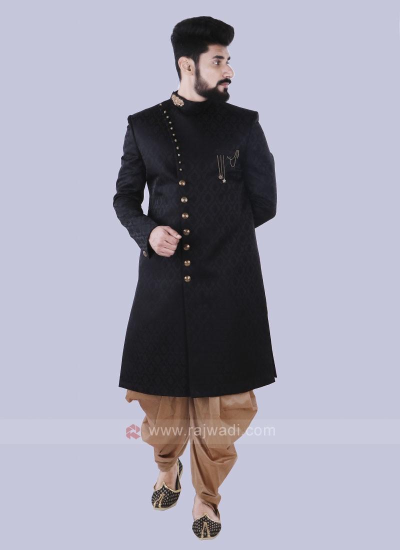 Black & Golden Indo Western For Men