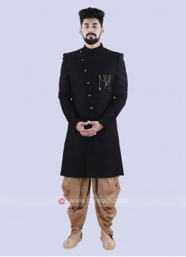 Black & Golden Indo Western For Men