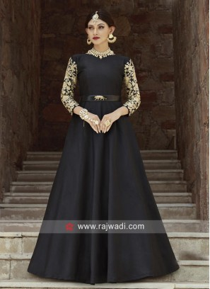 Black Gown with Embroidered Sleeves