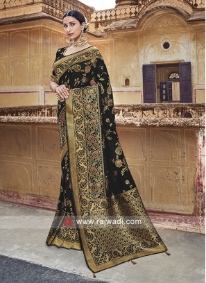 Black Heavy Embroidered Saree