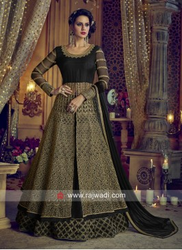 Black Heavy Embroidered Slit Salwar Suit