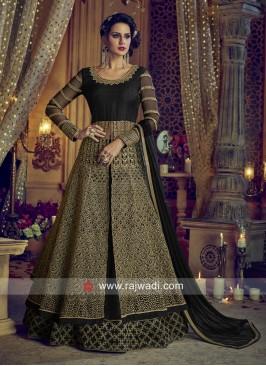 Black Heavy Embroidered Slit Salwar Suit