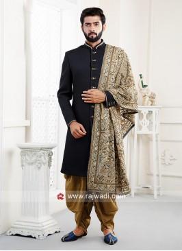 Black Imported Fabric Indo Western