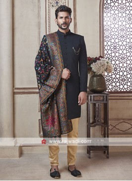 Black Imported Fabric Indo Western With Dupatta