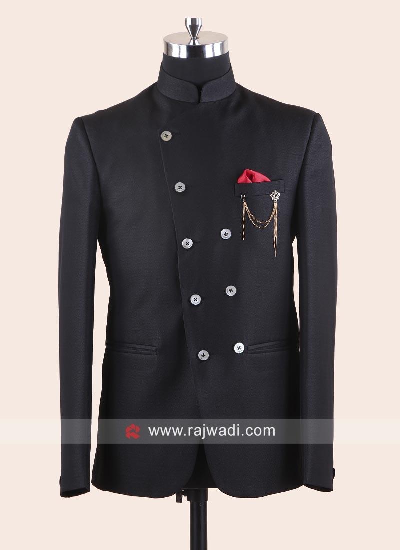 Black Imported Fabric Jodhpuri Set