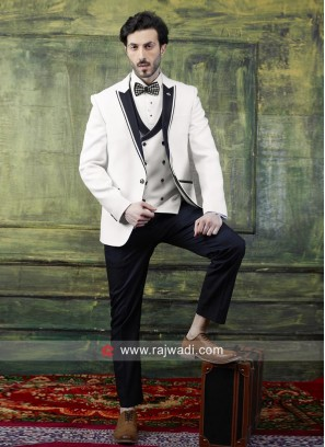 Emboss Fabric White Suit