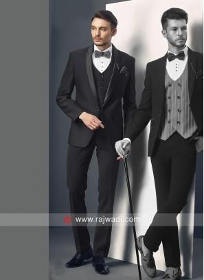 Black Herringbone Fabric Suit
