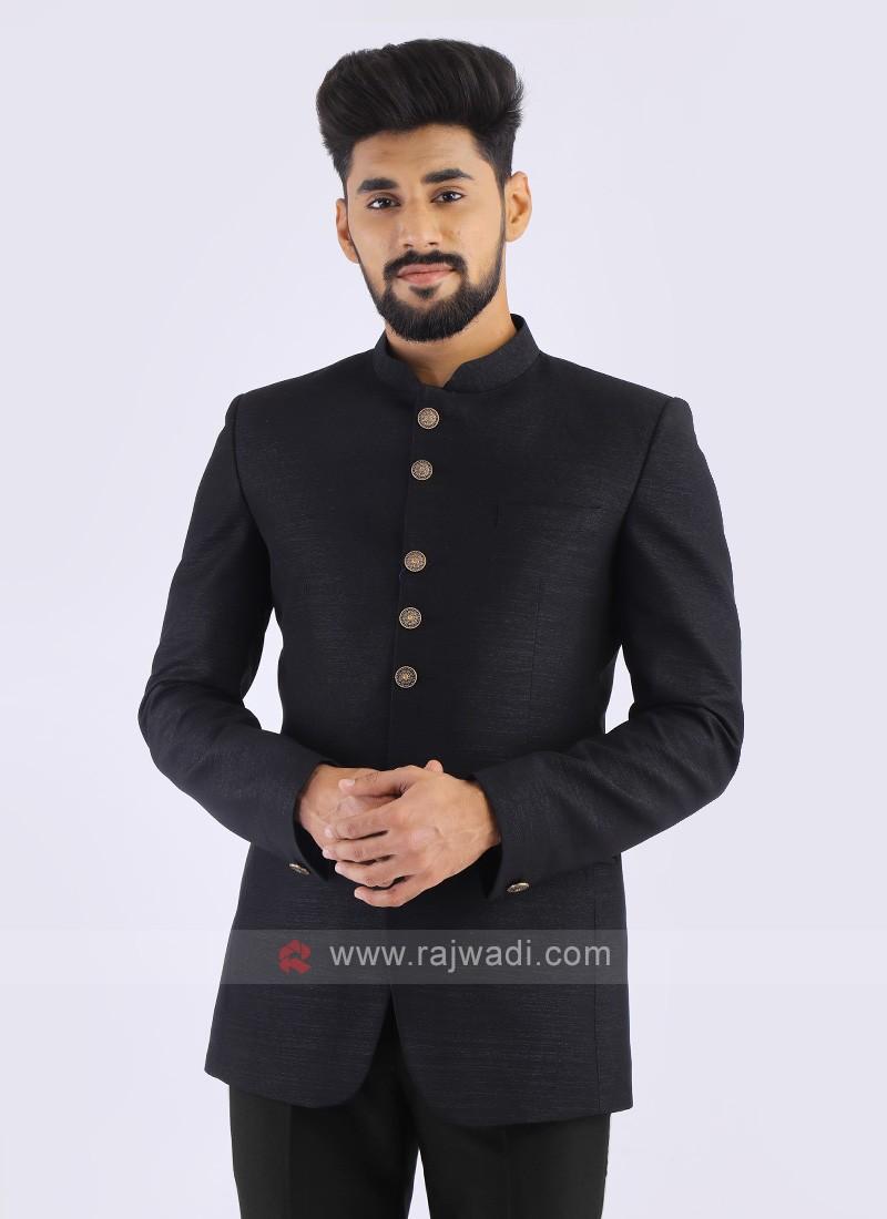 Black Imported Jodhpuri Suit