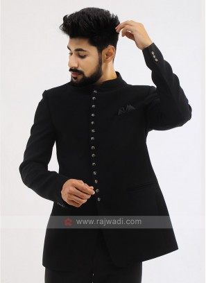 Black Imported Jodhpuri Suit