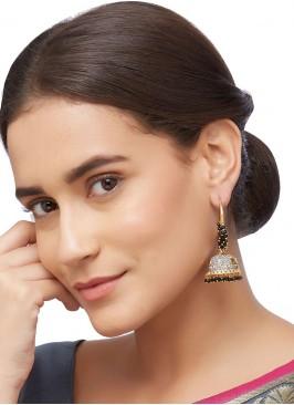 Black Jhumka Hoop Earrings