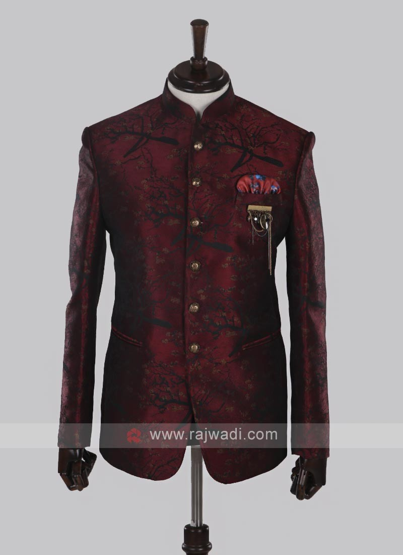 Maroon Jodhpuri Suit