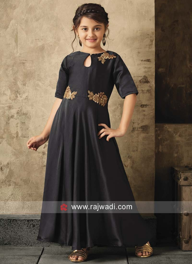 Black Keyhole Neckline Girls Gown