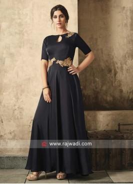 Black Keyhole Neckline Gown
