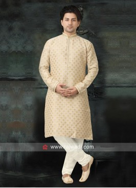 Charming Cotton Silk Cream Kurta Pajama