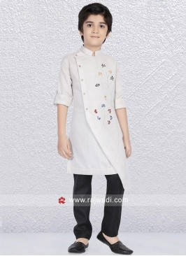 Off White Kurta Set For Kids
