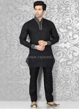 Black Kurta Pajama with Piping