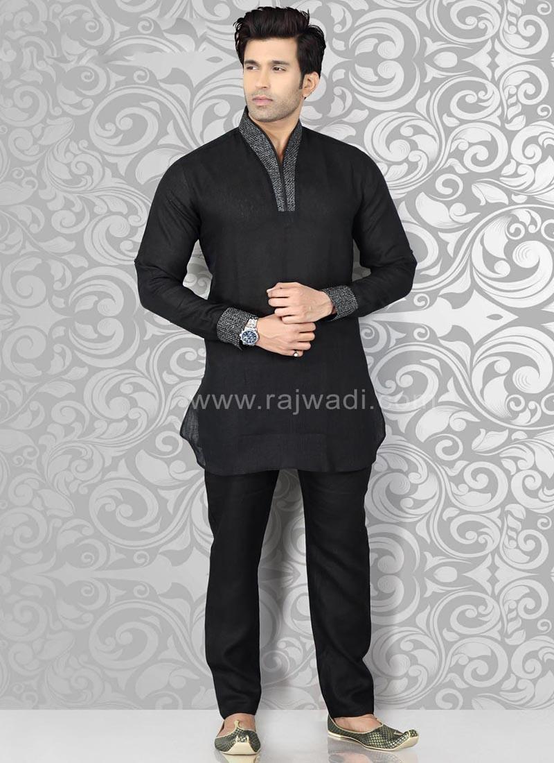 Black Kurta Pajama with Piping