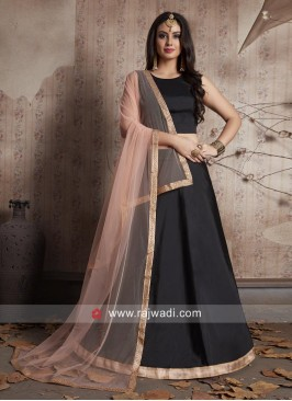 Black Lace Work Lehenga