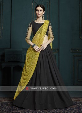 Black Lehenga Choli with Yellow Dupatta