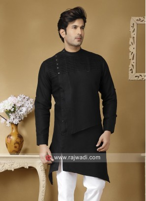 Black Linen Fabric Kurta