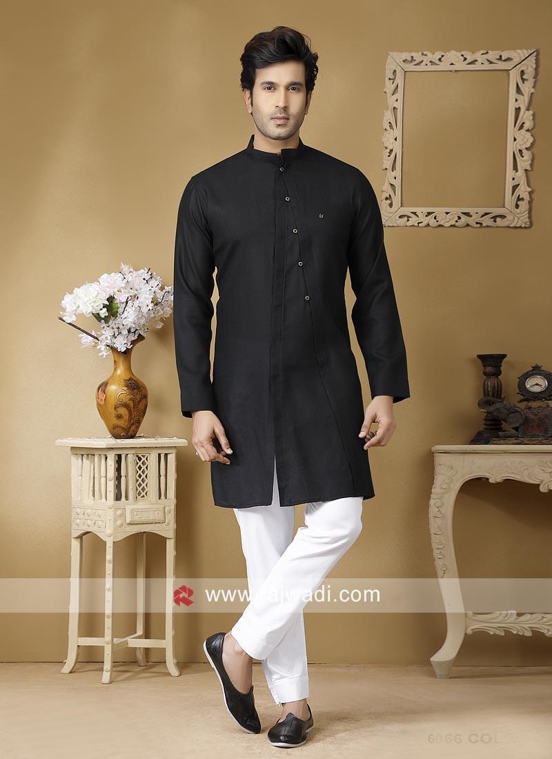 Black Linen Fabric Kurta Set