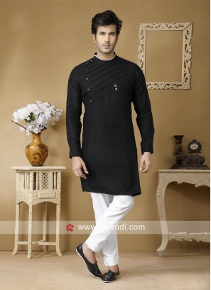 Black Linen Fabric Kurta Set