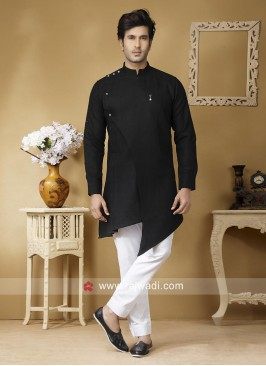 Black Linen Fabric Pathani Set