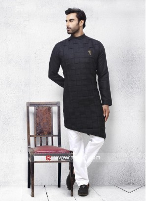 Black Linen Fabric Pathani Suit