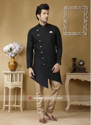 Black Linen Fabric Pathani Suit