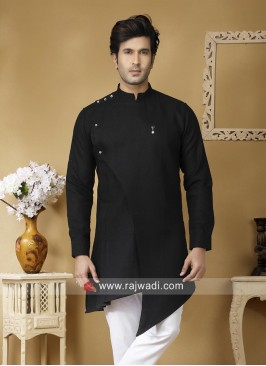Black Linen Kurta For Mens