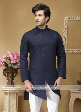 Blue Linen Fabric Kurta For Mens
