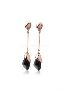 Black Metal Dangler Earrings