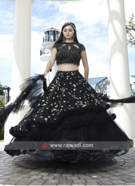 Black Multi Layer Heavy Lehenga Set