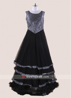 Black Multi Layered Party Gown