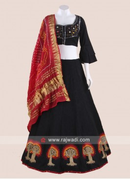 Black Navratri Chaniya Choli with Red Dupatta