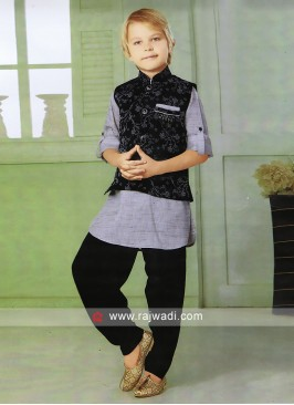 Black Nehru Jacket For Boys