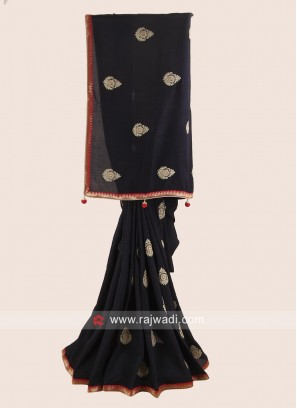 Black Party Saree with Red Blouse