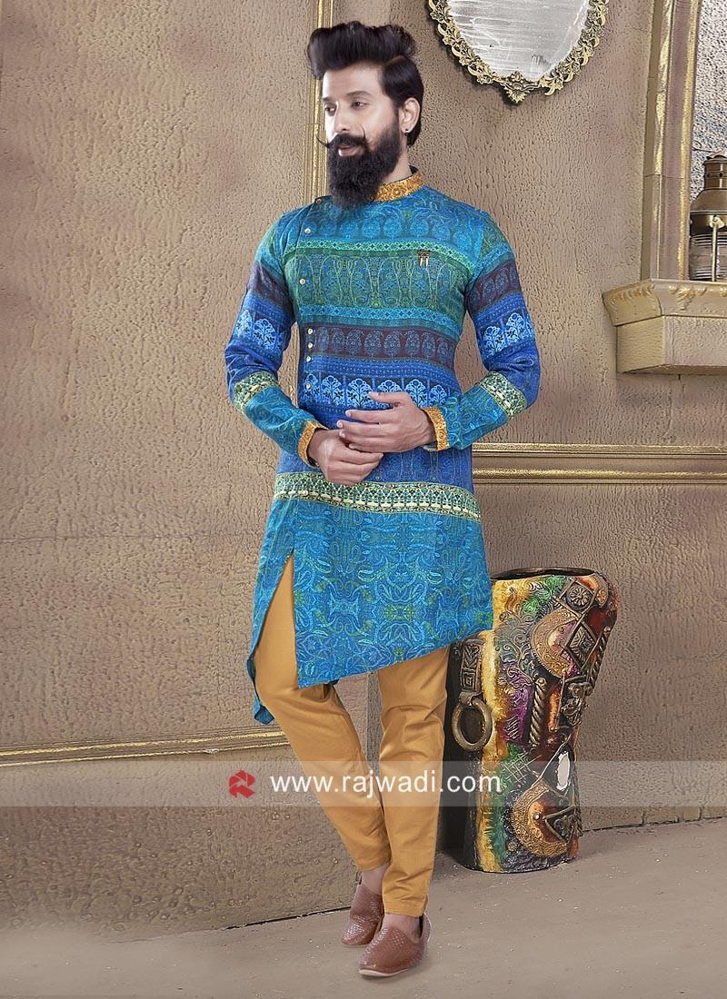 Designer Blue Color Pathani Set