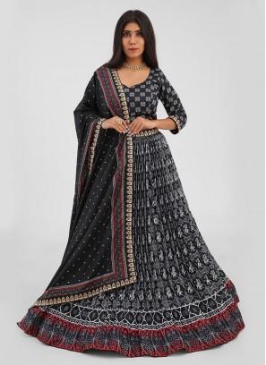 Black Patola Printed Choli suit