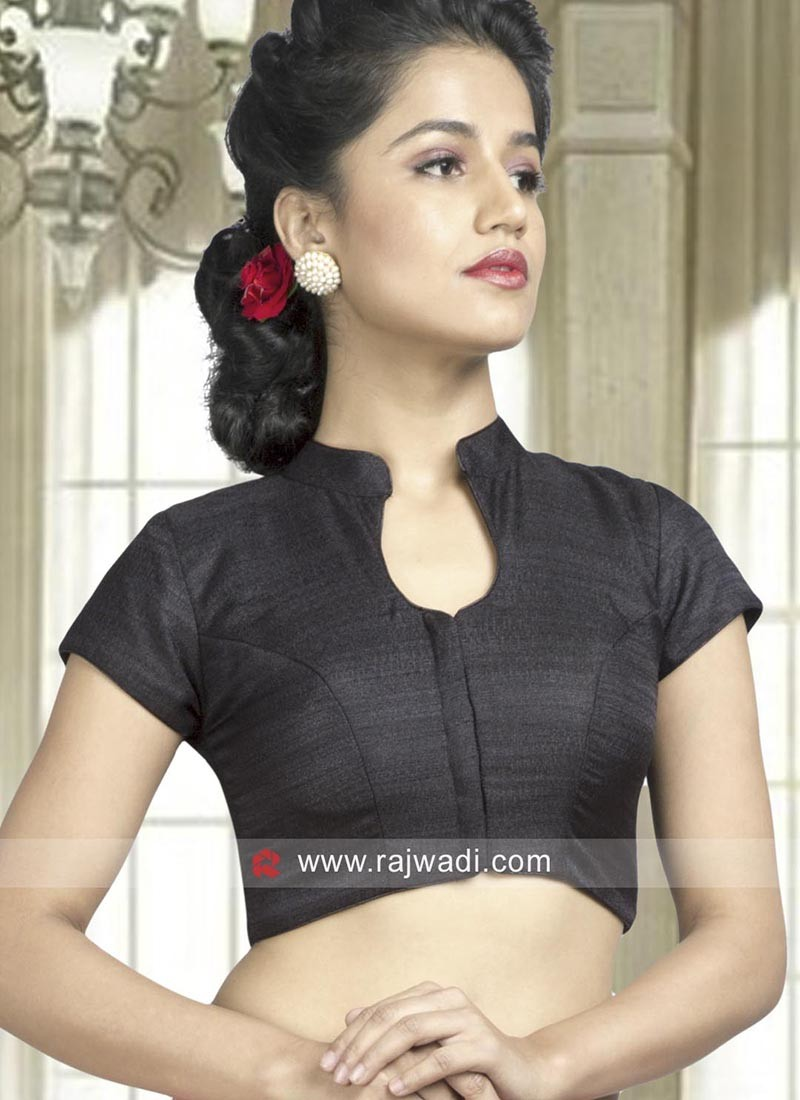 Black Plain Saree Blouse