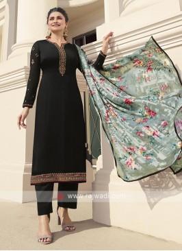 Black Prachi Desai Silk Pant Style Suit