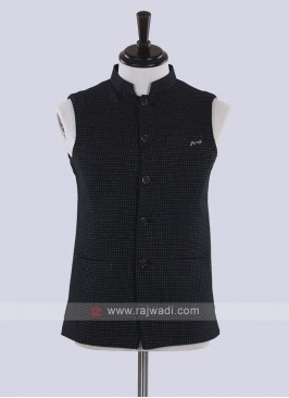 black printed jute silk nehru jacket