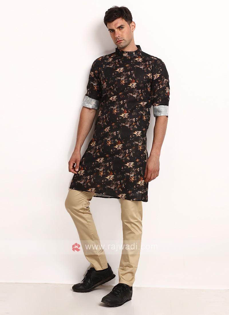 Black Printed Kurta Pajama