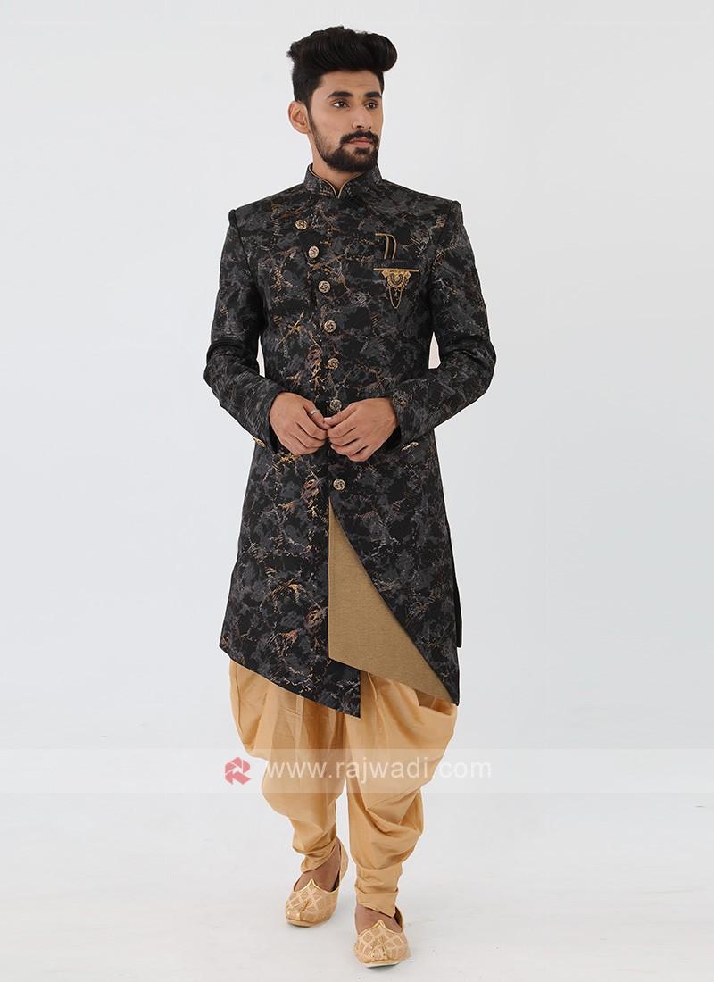 Black Printed Mens Indo-Western