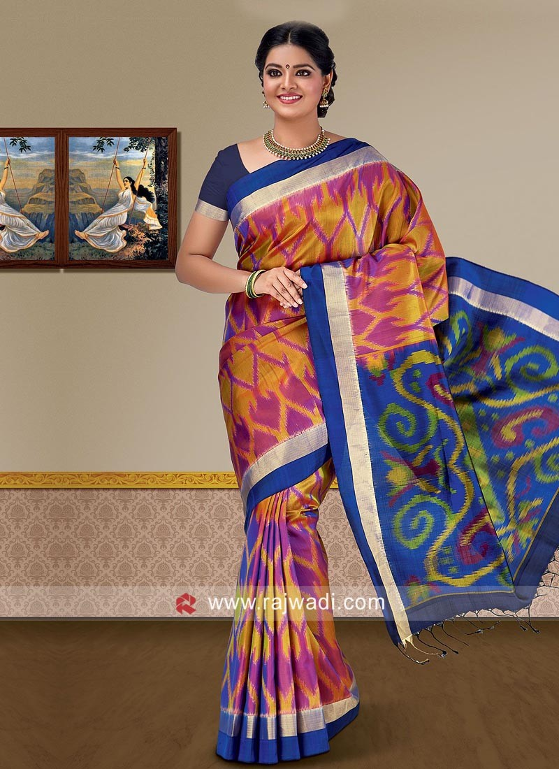 Multicolor Pure Silk Saree