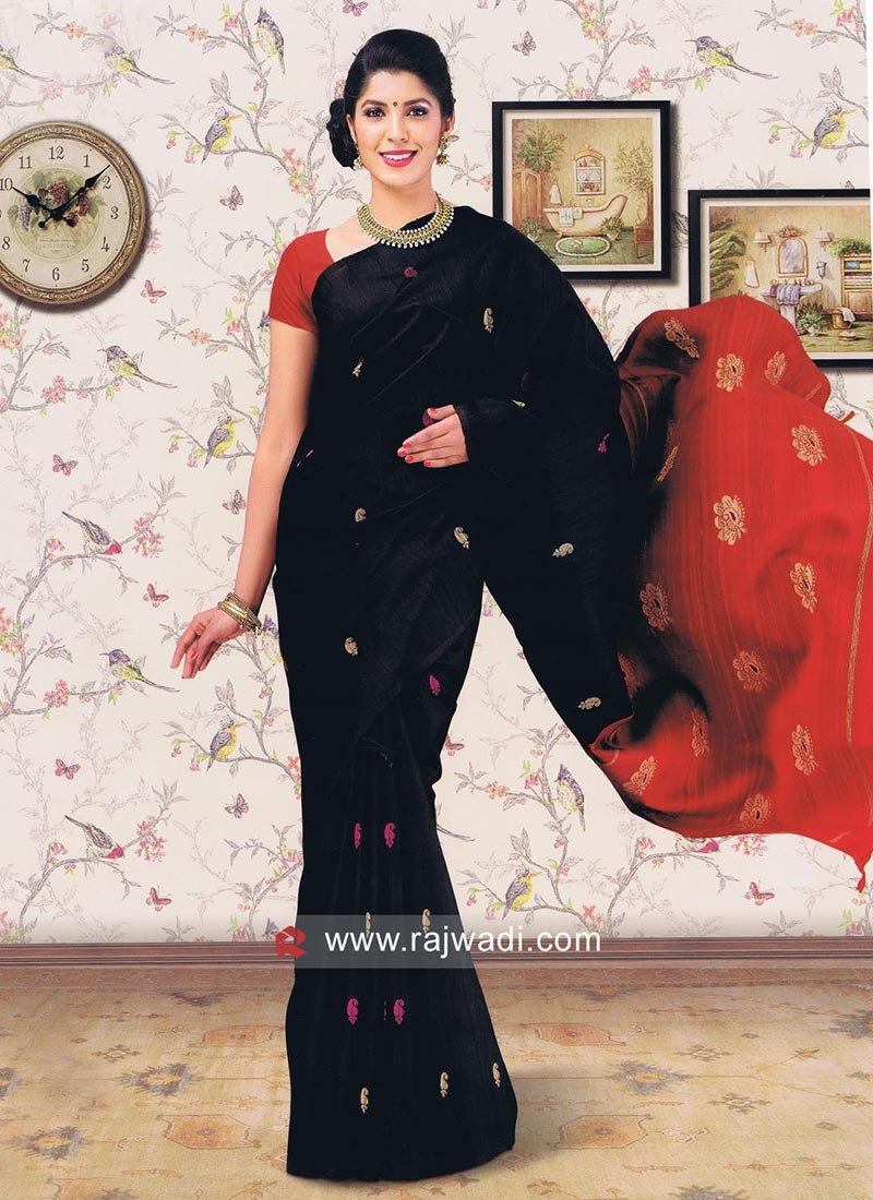Black Pure Silk Saree
