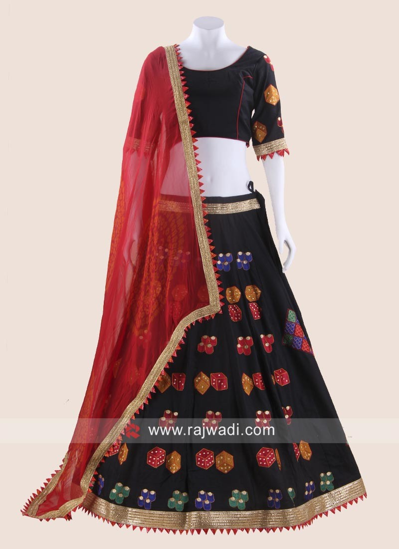 Black Raw Silk Chaniya Choli for Garba