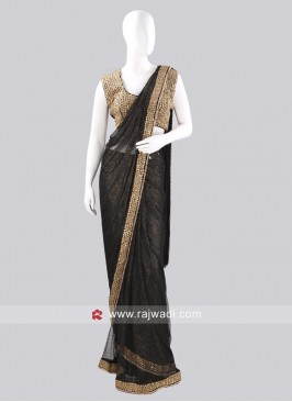 Black Ready Pleated Saree