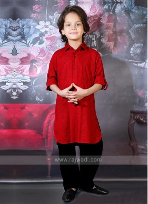Black & Red Boys Pathani Suit